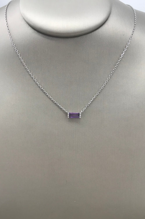 Amethyst and Diamond Bar Sterling Silver Necklace