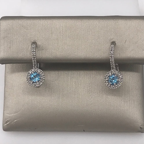 Round Blue Topaz Diamond Lever Earring