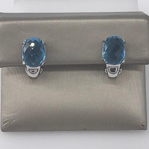 Blue Topaz Diamond Euro Back Earring