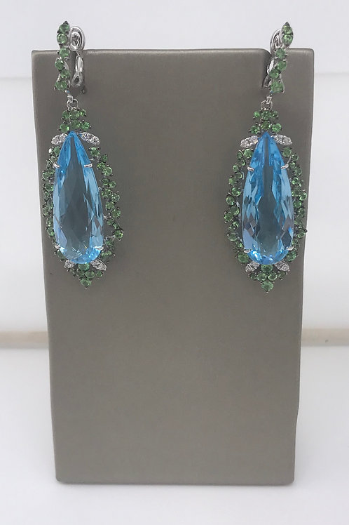 Large Marquee Blue Topaz and Green Tsavorite Drop Earring