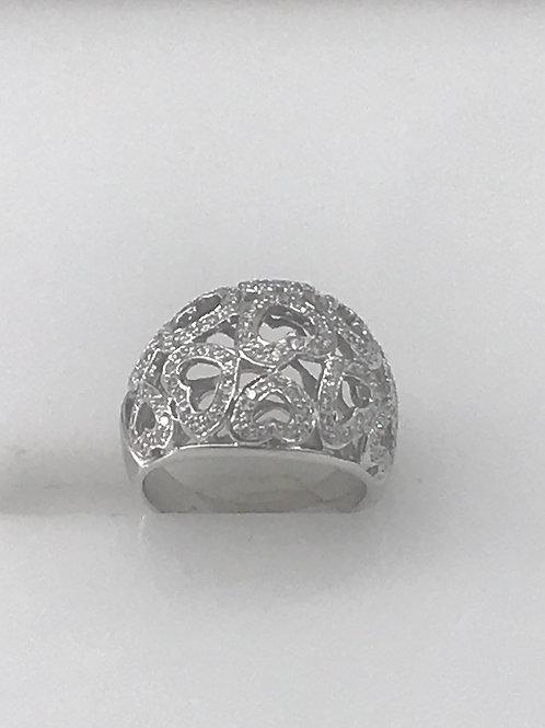 Dome Diamond Hearts Ring