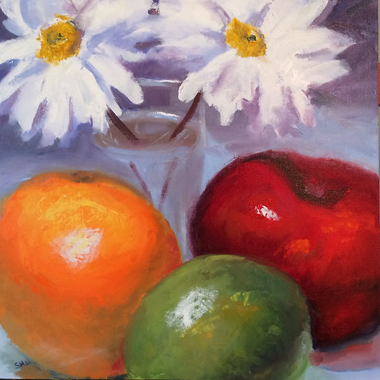 Daisy and Fruit - 18 x 18