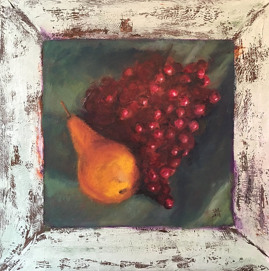 Pear and Grapes - 24 x 24