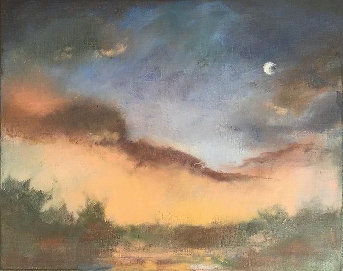 Moon at Dusk - 16 x 20