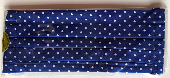 Royal blue w/ white polka dots. Adult Size