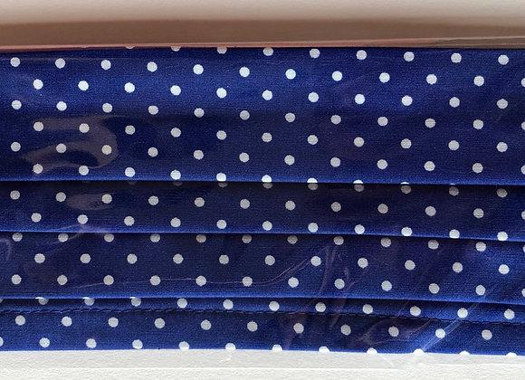 Royal blue w/ white polkadots. Kid Size