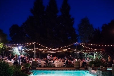 Backyard event string lighting