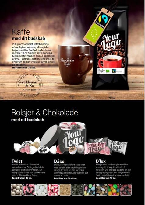 Kaffe, Bolsjer og chokolade med logo