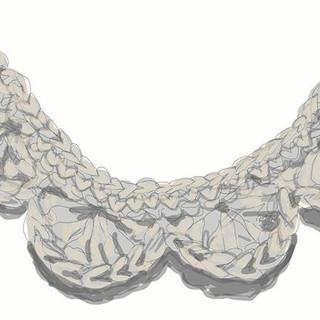Crochet collar sketch which developed in