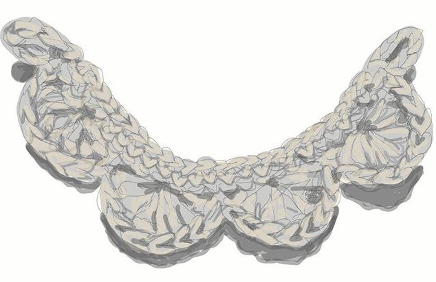 Crochet collar sketch which developed in