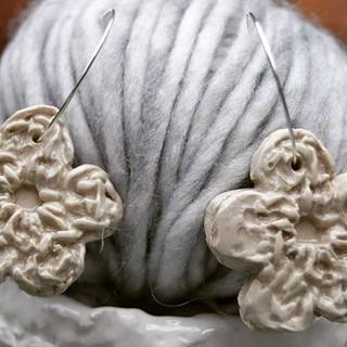 Crochet ear rings. Clear glaze. . . . #c