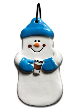 Snowman holding a hot beverage