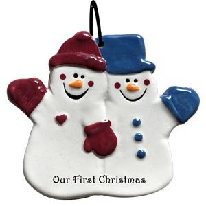 """Couple Snowman """"Our First Christmas"""""""