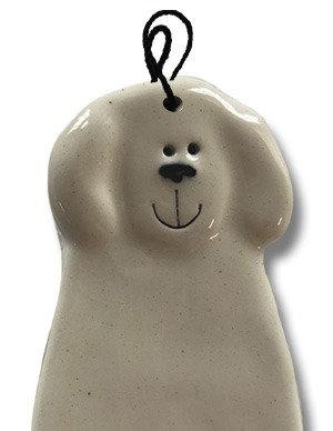 "2""x4"" Dog Ornament: Solid White"