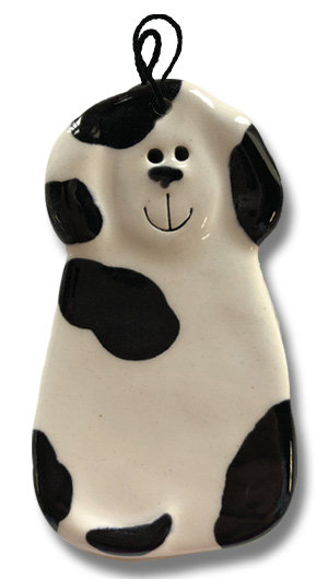 """2""""x4"""" Dog Ornament: Spotted White and Black"""