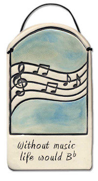 """3""""x5"""" Imprinted Wall Plaque """"Without music life would Bflat"""""""