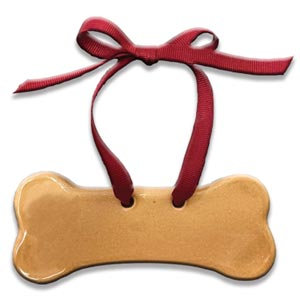 "1.5' x 5"" Customizable Dog Bone Ornament: Glossy tan"