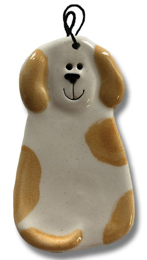 """2""""x4"""" Dog Ornament: Spotted White and Orange"""
