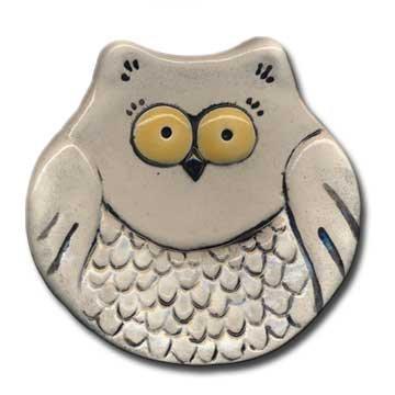 "3"" Mini White Owl dish"