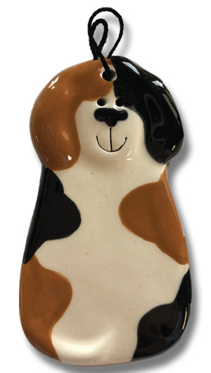 "2""x4"" Dog Ornament: Spotted White with Black & Light Brown spot"