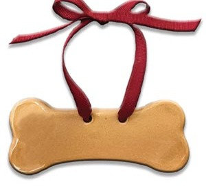 "1.5' x 5"" Customizable Dog Bone Ornament: Glossy tan"