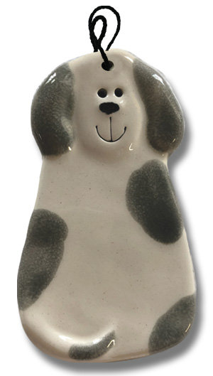 "2""x4"" Dog Ornament: Spotted White and Gray"