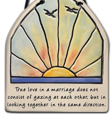 """4""""x4.5"""" Stained Glass Plaque: """"A good marriage..."""""""