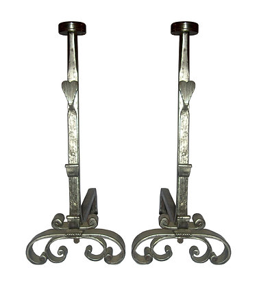 18th Century Hand Wrought Iron with Heart Andirons