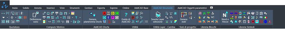 La barra degli strumenti di AddCAD Strumenti