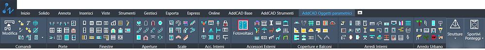 La barra degli strumenti di AddCAD Oggetti Parametrici