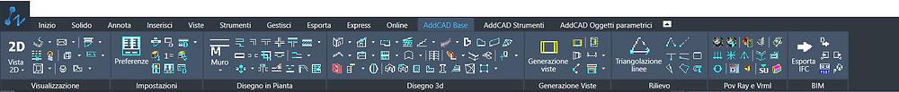 La barra degli strumenti di AddCAD Base