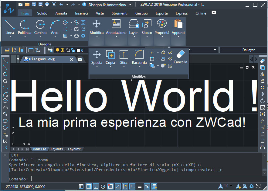 Inizia subito a lavorare con ZWCad