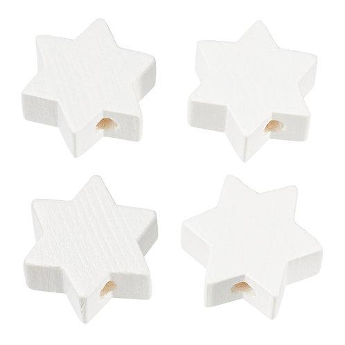 Schnulli stella in legno 19.5 mm bianca 4 Pz.