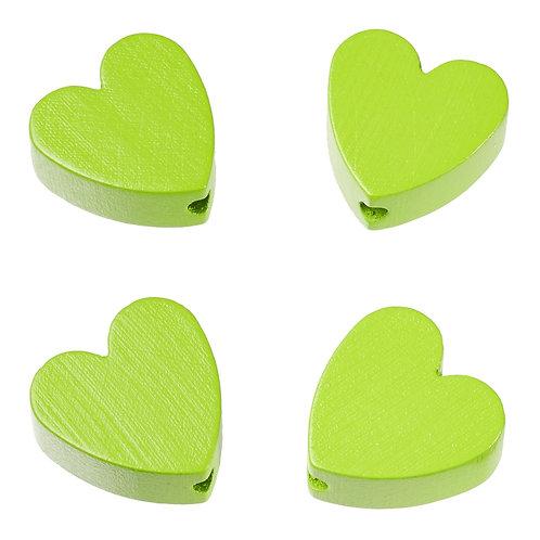 Schnulli cuore in legno 20 mm verde mela 4 Pz.