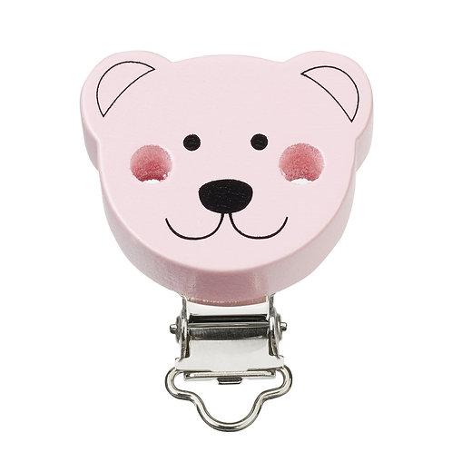 Schnulli clip in legno orsetto 37 mm colore rosa 1 Pz.