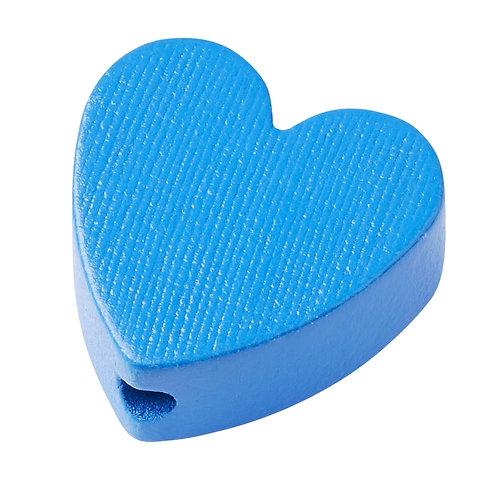 Schnulli cuore in legno 20 mm blu 4 Pz.