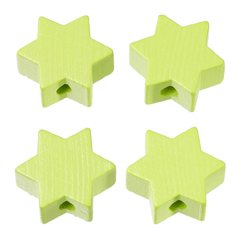 Schnulli stella in legno 19.5 mm verde limone 4 Pz.