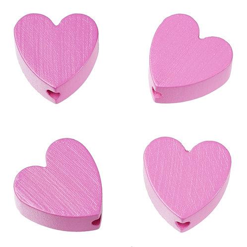 Schnulli cuore in legno 20 mm ciclamino 4 Pz.
