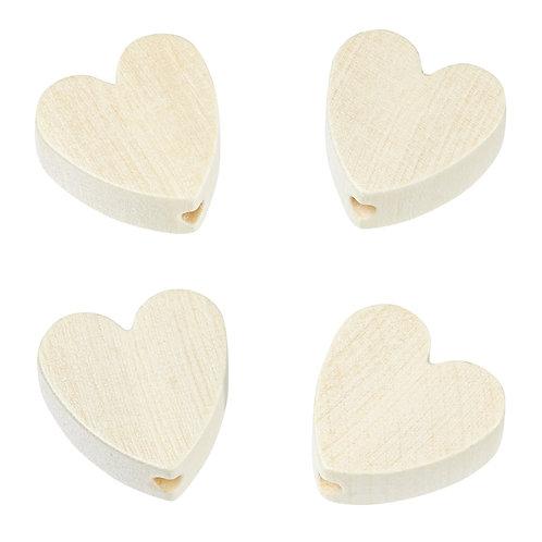 Schnulli cuore in legno 20 mm naturale 4 Pz.