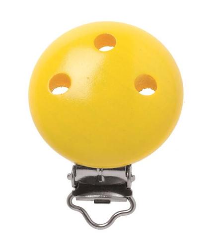 Schnulli clip in legno 37 mm colore giallo 1 Pz.