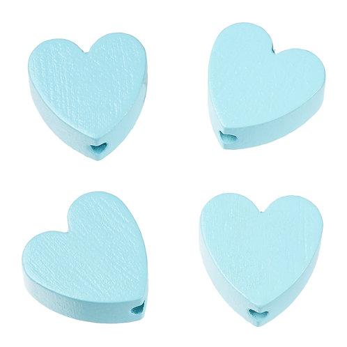 Schnulli cuore in legno 20 mm turchese 4 Pz.