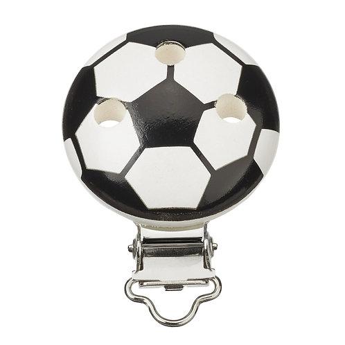 Schnulli clip in legno pallone da calcio 37 mm colore bianco nero 1 Pz.