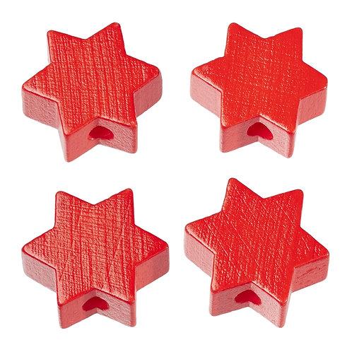 Schnulli stella in legno 19.5 mm rossa 4 Pz.