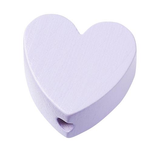 Schnulli cuore in legno 20 mm lilla 4 Pz.