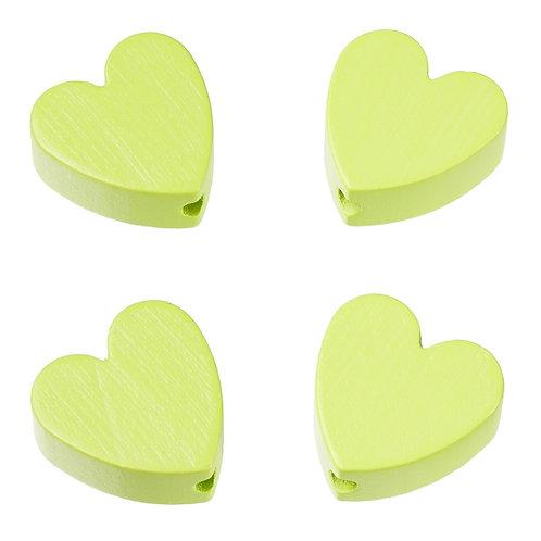 Schnulli cuore in legno 20 mm verde limone 4 Pz.