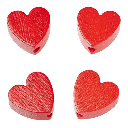 Schnulli cuore in legno 20 mm rosso 4 Pz.
