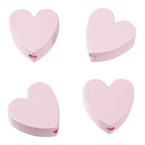 Schnulli cuore in legno 20 mm rosa 4 Pz.