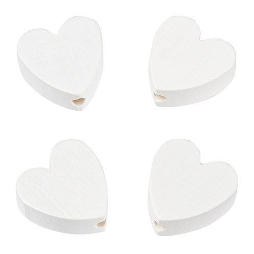Schnulli cuore in legno 20 mm bianco 4 Pz.