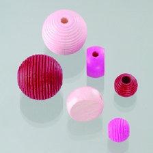 Mix perle in legno rosa 25 Pz.