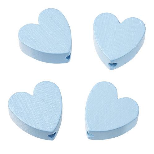 Schnulli cuore in legno 20 mm celeste 4 Pz.